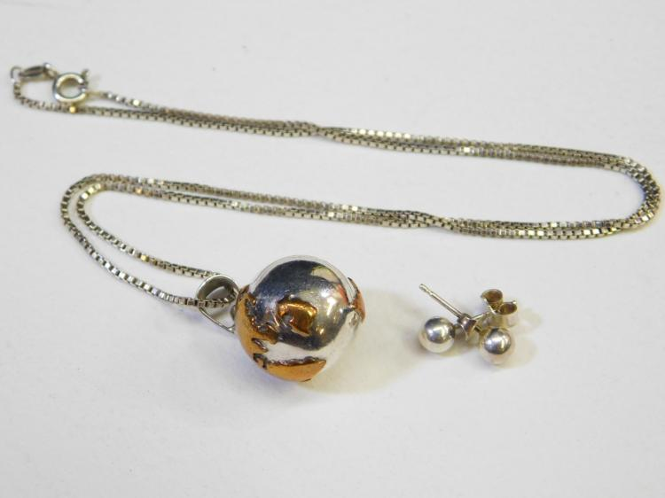 Mexico Mixed Metals Sterling Silver & Copper World Globe Bell Charm Pendant Necklace