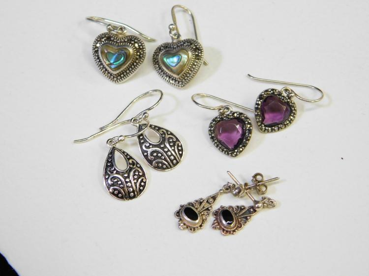 Lot Of 4 Pr Sterling Silver Marcasite Abalone Jet Fashion Dangle Earrings