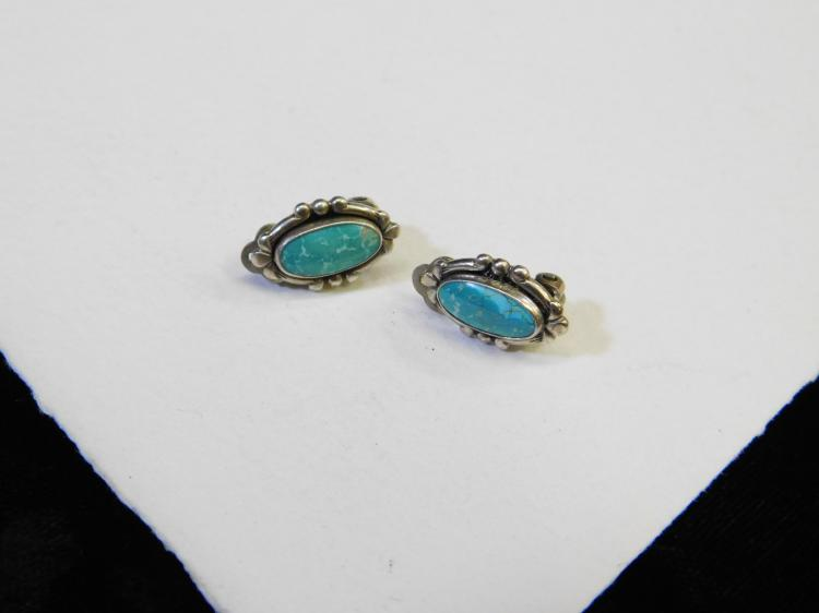 Vintage Navajo Sterling Silver And Turquoise Clip On Earrings 4G