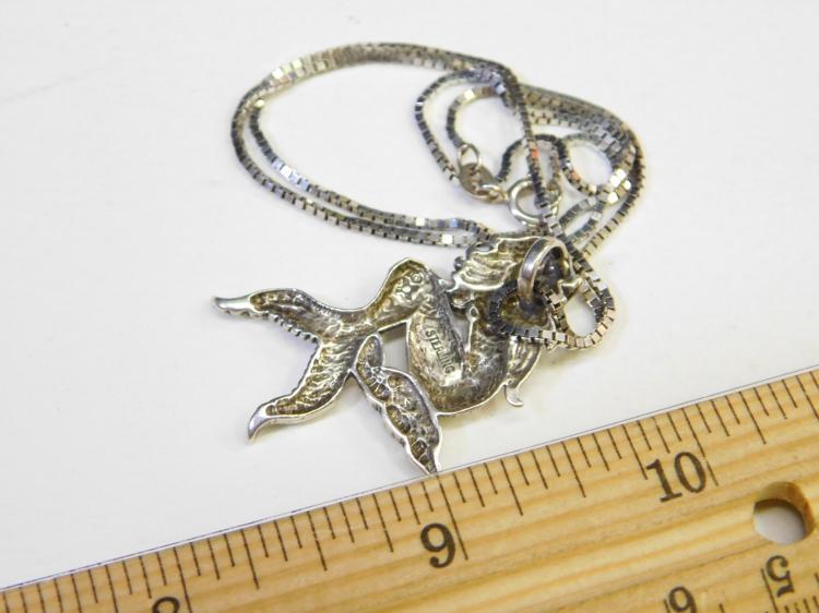 Lot 113: Vintage Sterling Silver Mermaid Pendant Necklace 9.5G