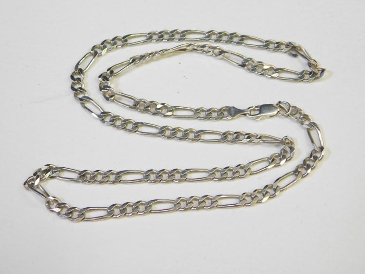 Vintage Mexico Sterling Silver Figero 21 Inch Chain Necklace 18.4G