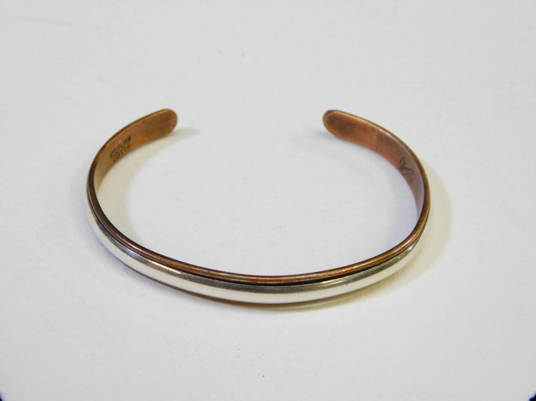 Vintage Sterling Silver Copper Mixed Metals Cuff Bracelet Signed Nicole