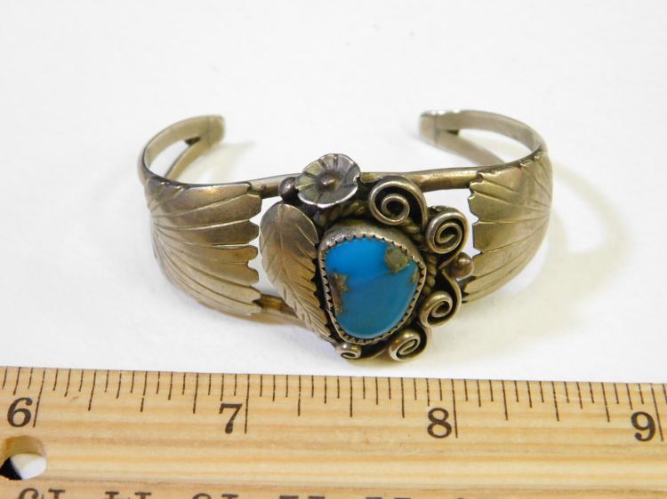Lot 116: Vintage Navajo Nickel Silver Turquoise Cuff Bracelet