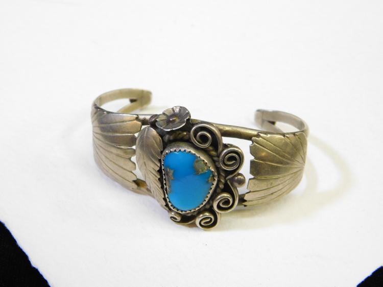 Vintage Navajo Nickel Silver Turquoise Cuff Bracelet