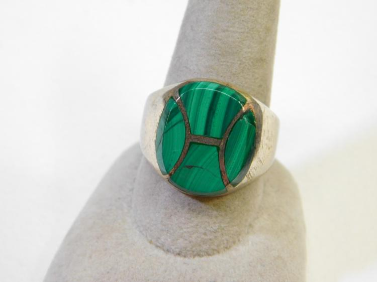 Vintage Mexico Sterling Silver Malachite Inlaid Mens Ring Size 10 15.4G