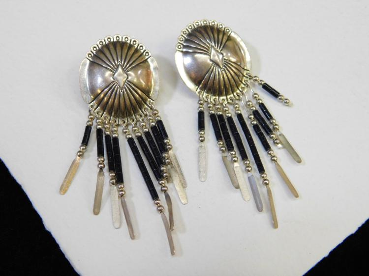 Vintage Navajo Sterling Silver Concho Style Dangle Earrings Signed Sc