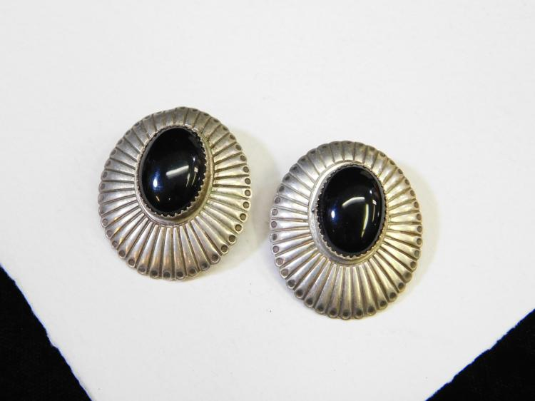 Vintage Navajo Sterling Silver Jet Concho Post Earrings 11.9G