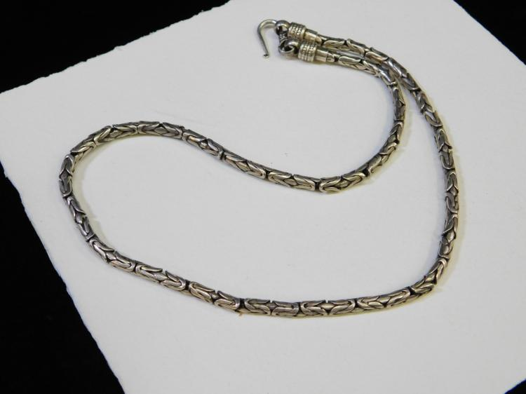 60G Vintage Sterling Silver Byzantine 21 Inch Heavy Chain Necklace