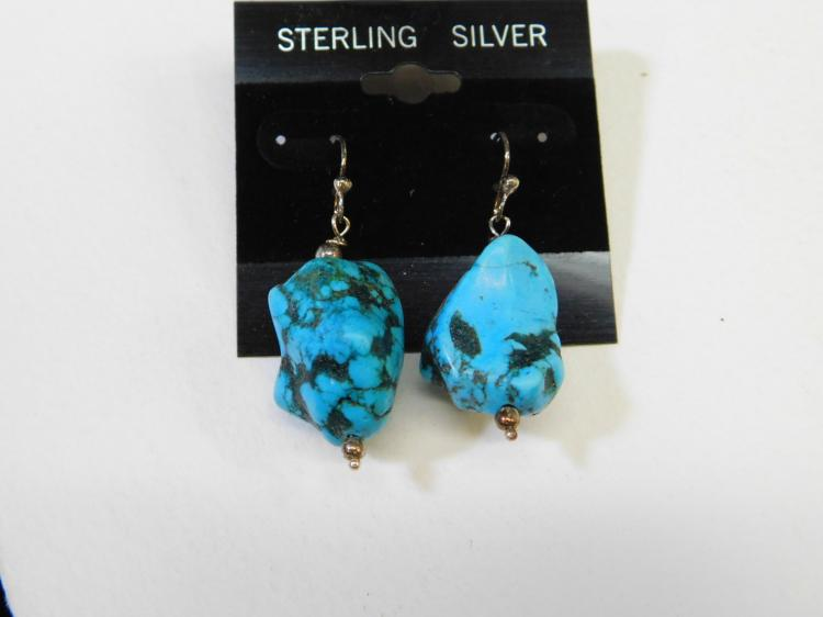Navajo Dyed Turquoise Nugget Sterling Silver Dangle Earrings