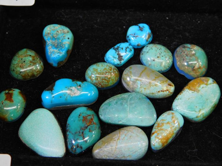 107.2 Ct Mixed Turquoise Polished And Backed Cabachon Lot For Jewelry Making