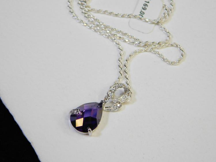New Bradford Exchange Sterling Silver Amethyst Cz Fashion Pendant Necklace