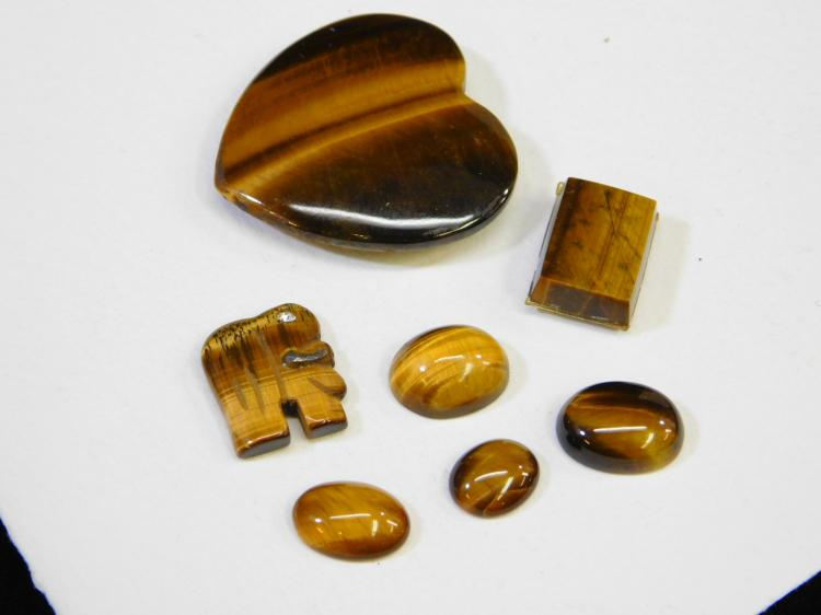 158 Ct Lot Of Tigers Eye Cabachons For Jewelry Making Including Large Heart And Elephant