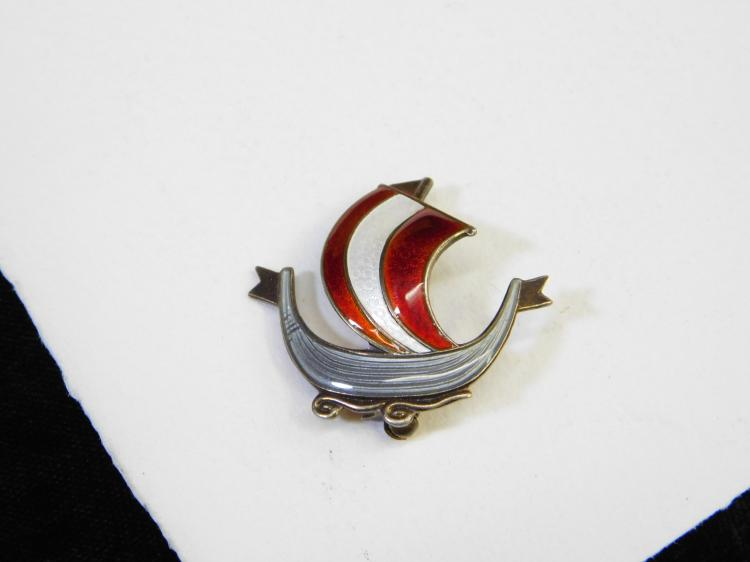 Vintage Norway Sterling Silver Enameled Viking Ship Broach