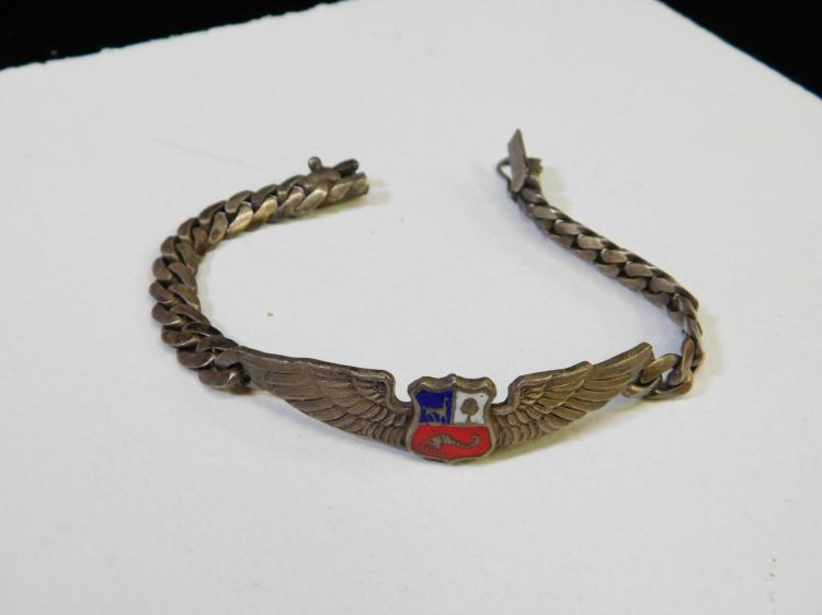 Antique Sterling Silver Military Pilots Wings Sweetheart Bracelet Made In Peru 27G