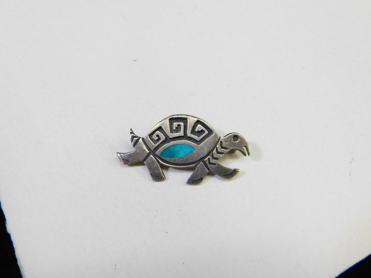 Vintage Hopi Sterling Silver Inlaid Turquoise Turtle Brooch