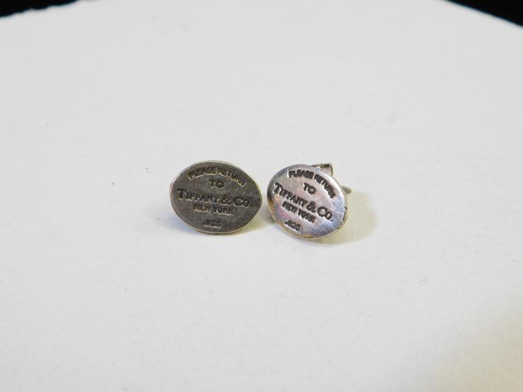 Vintage Sterling Silver Please Return To Tiffany And Company Post Earrings