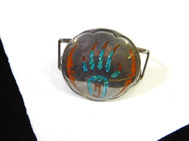 Vintage Zuni Sterling Silver Chip Inlay Paw Or Claw Turquoise Coral Large Cuff Bracelet Signed Ww