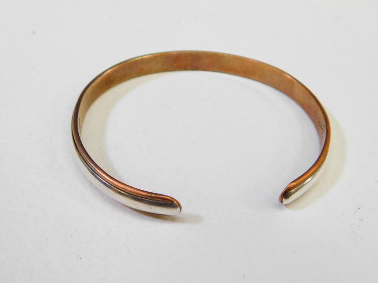 Lot 144: Vintage Sterling On Copper Cuff Bracelet Signed Nicole 16.3G