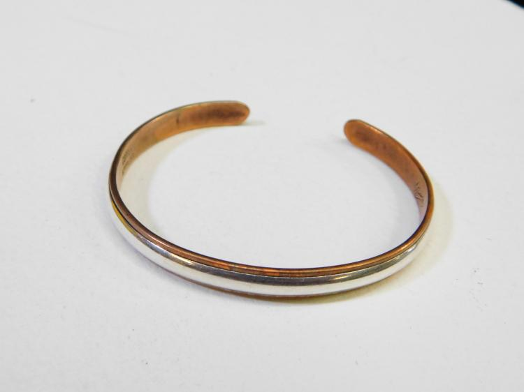 Vintage Sterling On Copper Cuff Bracelet Signed Nicole 16.3G