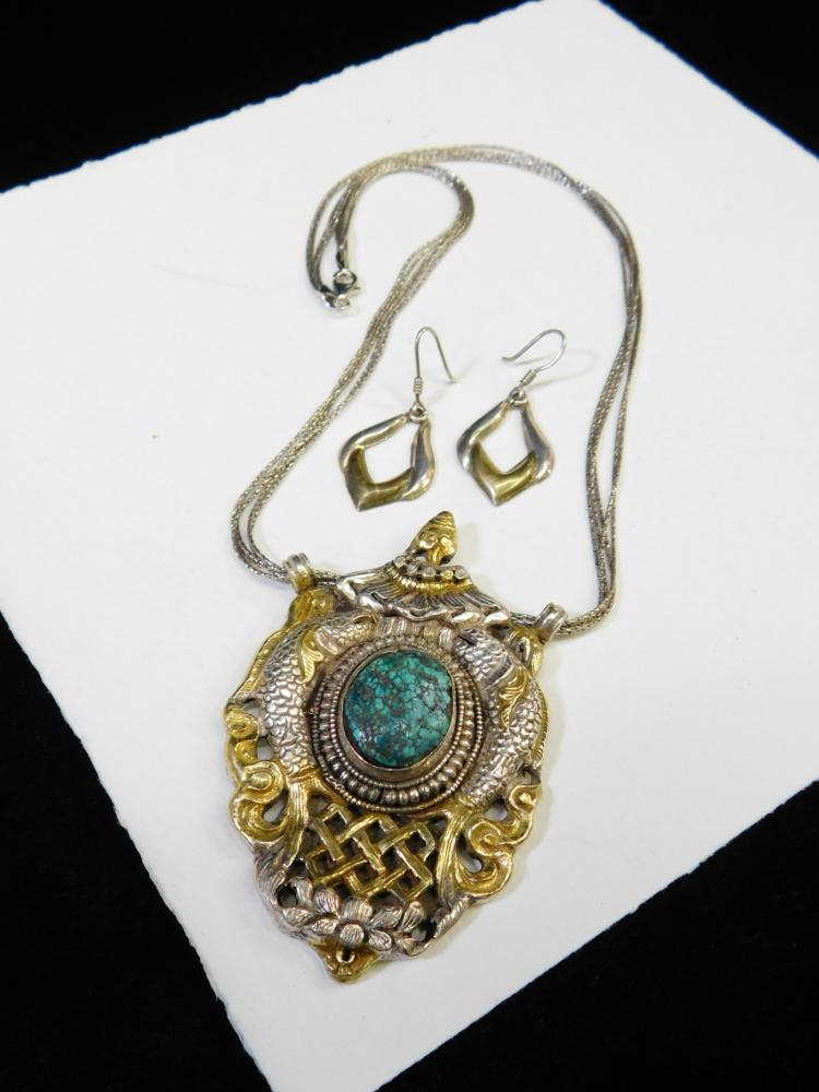 Vintage Sterling Silver Turquoise Thailand Pendant Necklace And Earrings