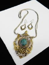Lot 150: Vintage Sterling Silver Turquoise Thailand Pendant Necklace And Earrings