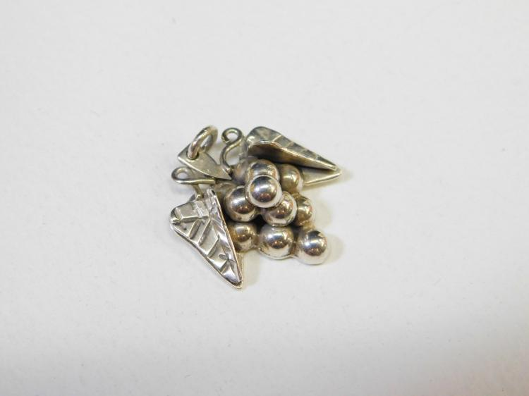 Lot 151: Vintage Taxco Mexico Sterling Silver Grape Cluster Pendant Signed Belize