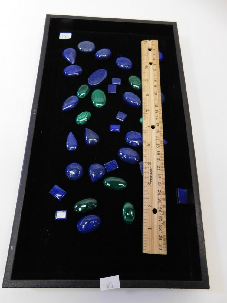 Lot 152: Huge Lot Of Lapis And Malachite Cabachons For Jewelry Making