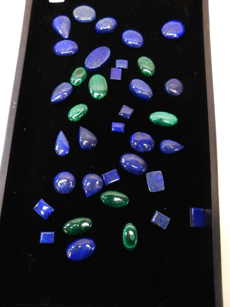 Huge Lot Of Lapis And Malachite Cabachons For Jewelry Making
