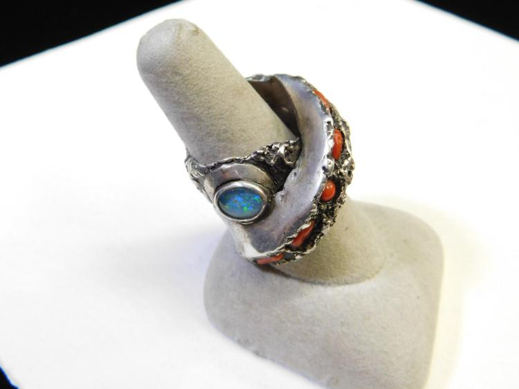 Lot 154: Modern Sterling Silver Freeform Dart Ring With Opal Coral And Capped Black Opal