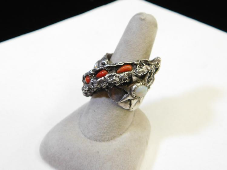 Modern Sterling Silver Freeform Dart Ring With Opal Coral And Capped Black Opal