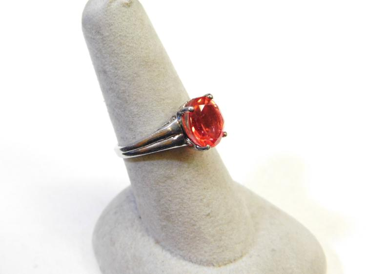 Lot 155: Modern Sterling Silver And Pink Cz Fashion Ring Size 7