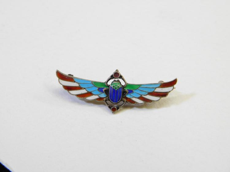 Lot 156: Antique 800 Silver Enamel Egyptian Winged Scarab Brooch