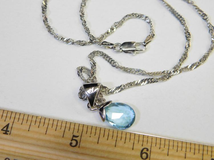 Lot 157: Modern Sterling Silver And Faceted Blue Topaz Pendant Necklace 6.2G