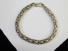 Lot 162: 21G Modern Sterling Silver Heavy Fashion Bracelet Made In Thailand