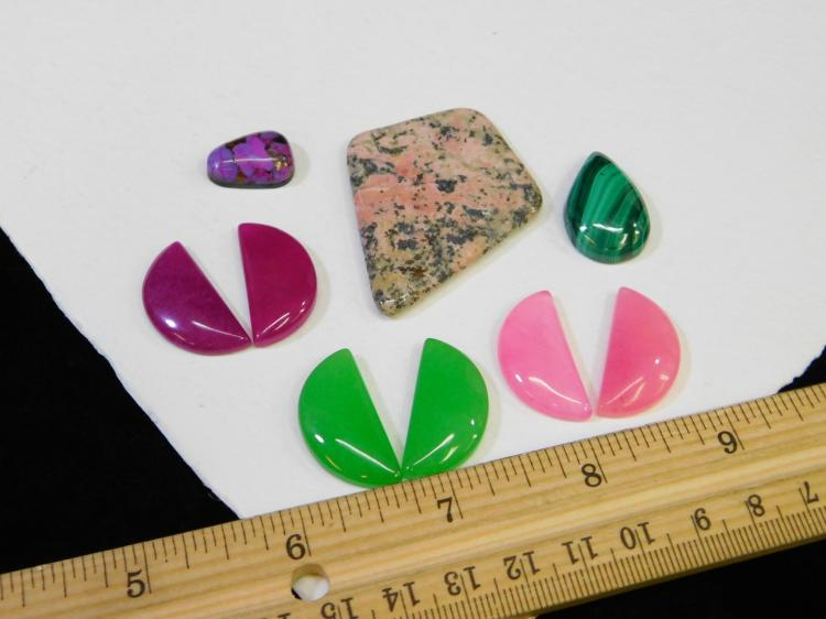 Lot 170: Lot Of Malachite Dyed Jadeite And More Cabachons For Jewelry Making