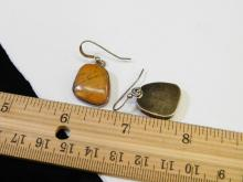 Lot 172: Vintage Navajo Sterling Silver Orange Jasper Dangle Earrings Signed E Willie