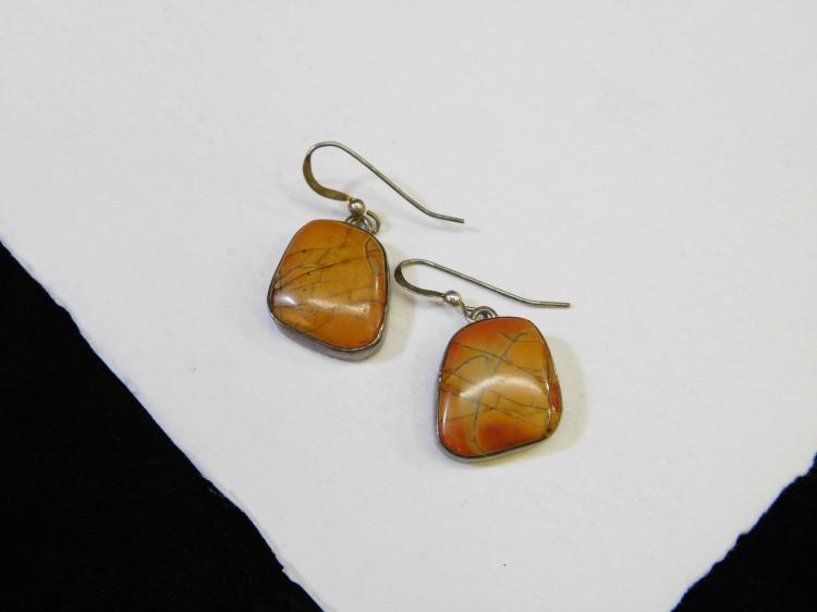 Vintage Navajo Sterling Silver Orange Jasper Dangle Earrings Signed E Willie