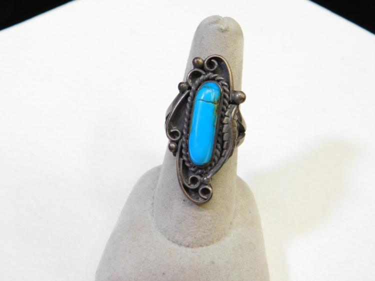Vintage Navajo Sterling Silver Turquoise Ring Size 8 10G