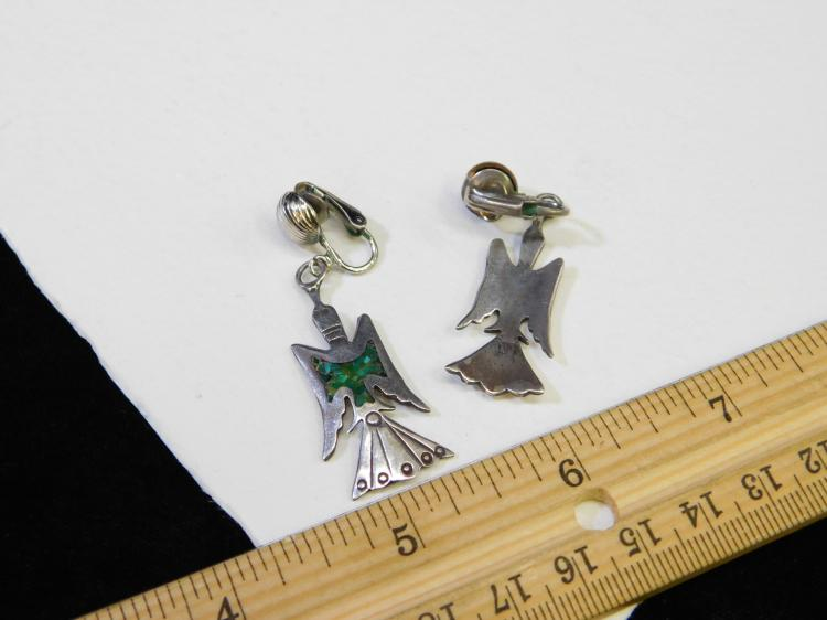 Lot 174: Vintage Navajo Sterling Silver Turquoise Chip Inlay Peyote Bird Dangle Clip-On Earrings