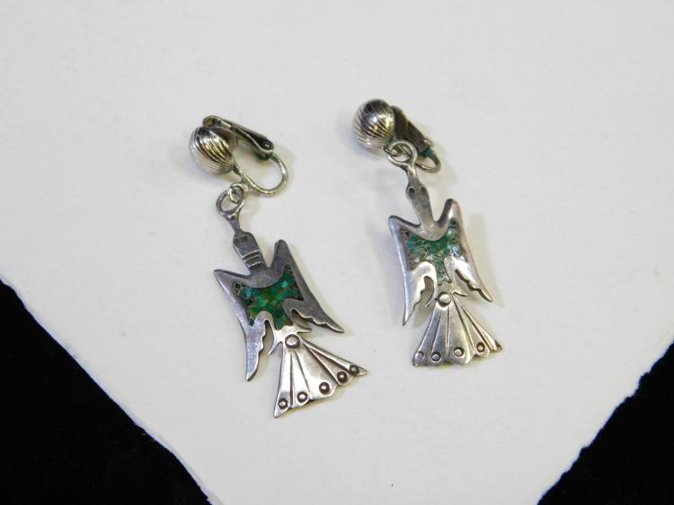 Vintage Navajo Sterling Silver Turquoise Chip Inlay Peyote Bird Dangle Clip-On Earrings