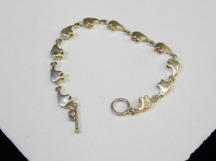 Vintage Navajo Sterling Silver Zuni Bear Charm Bracelet 18.5G