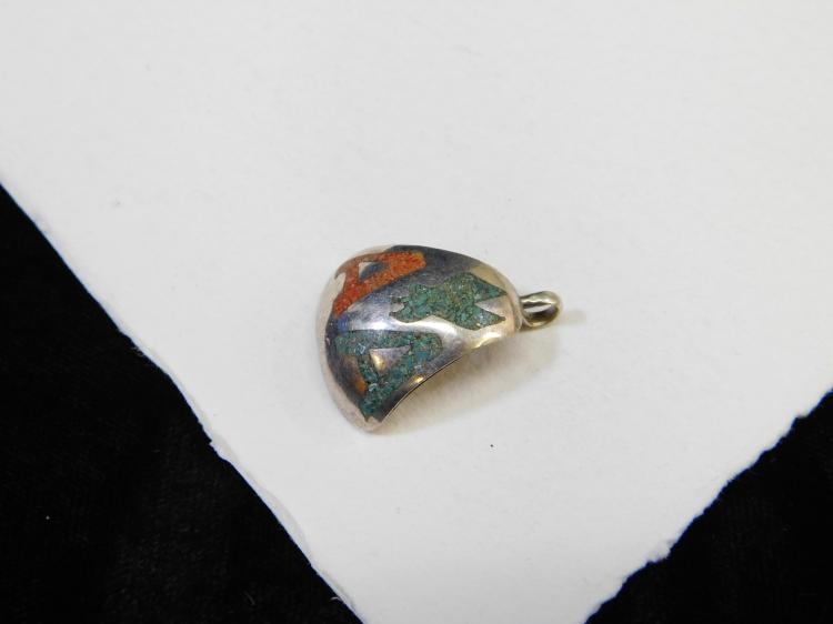 Lot 178: Vintage Navajo Custom Made Sterling Silver Turquoise Coral Chip Inlay American Airlines Pendant