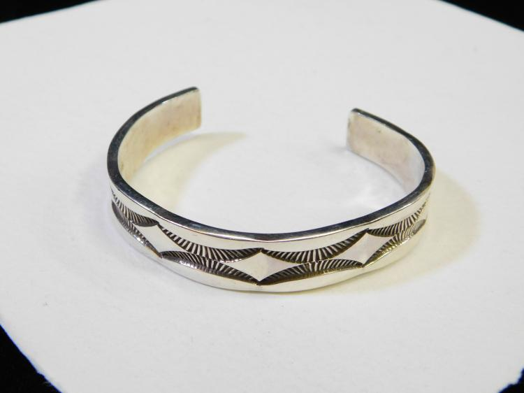 Vintage Navajo Sterling Silver Heavy Cuff Bracelet Signed Nora 44G