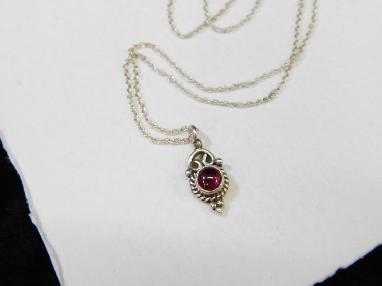 Modern Sterling Silver Garnet Petite Pendant Necklace