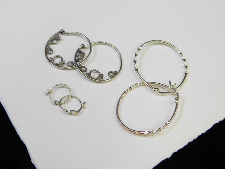 Lot Of 3 Pair Sterling Silver Hoop Earrings In Various Sizes 6.5