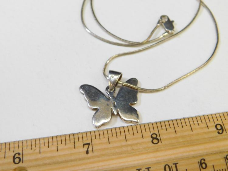 Lot 183: Modern Sterling Silver Inlaid Pink Shell Butterfly Pendant Necklace