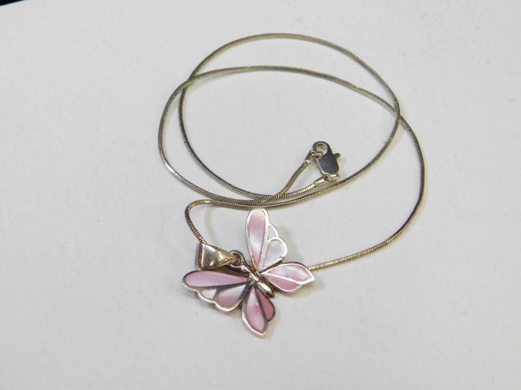 Modern Sterling Silver Inlaid Pink Shell Butterfly Pendant Necklace