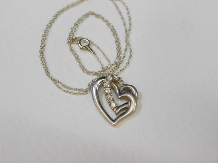 Modern Sterling Silver Double Heart Cz Pendant Necklace