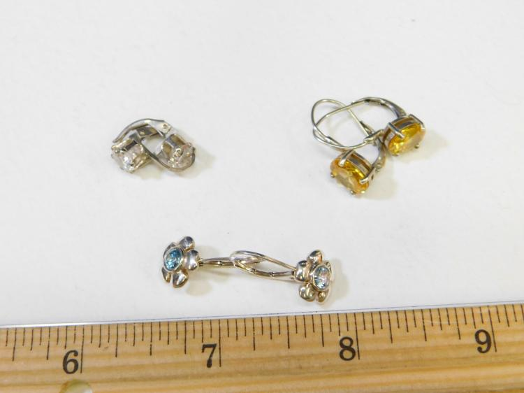 Lot 185: Lot Of Three Pair Sterling Silver Blue Yellow And Clear Cz Dangle Earrings