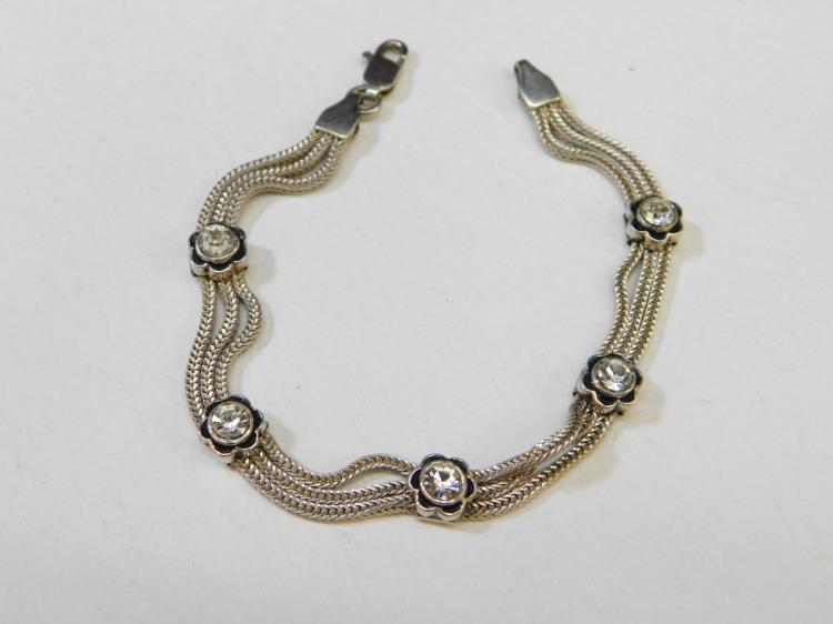 Modern Sterling Silver Multi Strand Cz Flower Fashion Bracelet 12.1G